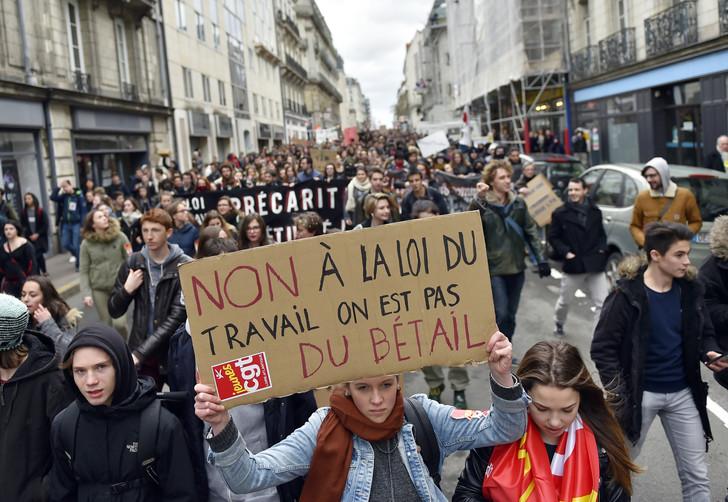 Manifestation contre le projet de loi travail, le 9 mars 2016 à Nantes.